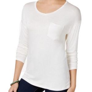 Rebellious One Ivory Junior VNeck Hi-Low Tee Shirt